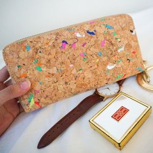 Multi-Coloured Cork Zipper Wallet